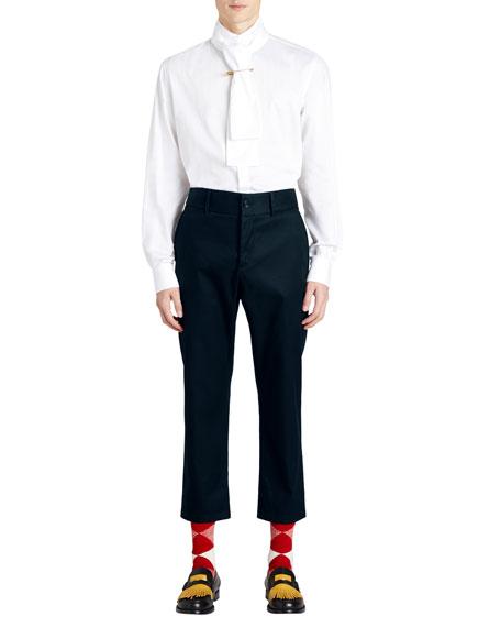 Cotton Twill Cropped Chino Pants