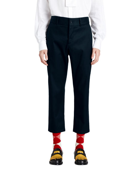 Burberry Cotton Twill Cropped Chino Pants