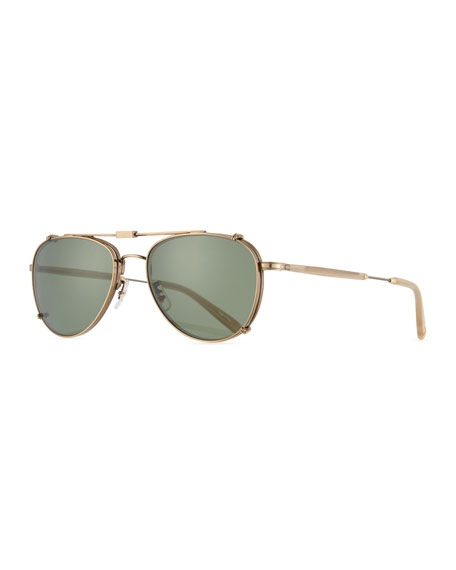 Garrett Leight Linnie M Aviator Glasses with Clip-On