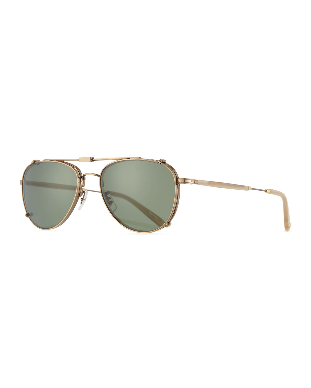 e15fb81ec10e8 Garrett Leight Linnie M Aviator Glasses with Clip-On Sunglasses ...