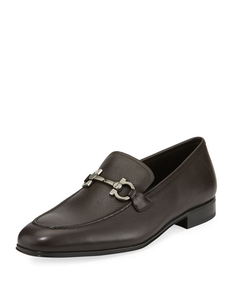 Salvatore Ferragamo Men's Textured Calfskin Gancini Loafer, Brown