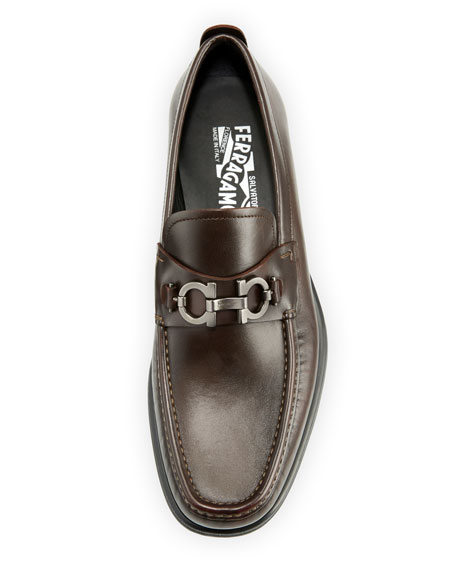 Leather Lug-Sole Loafer, Brown