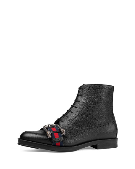 Gucci Beyond Tag Buckle Lace-Up Boot