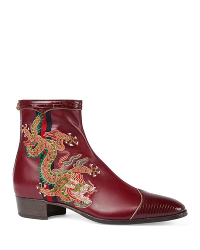Plata Leather Boot with Dragon Embroidery