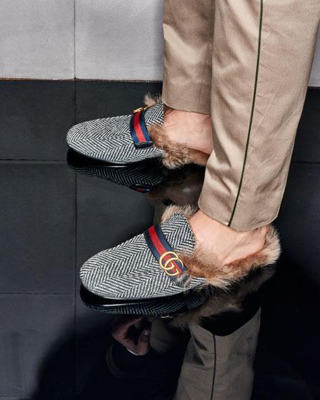 86cdac5b3 Gucci Princetown Herringbone Slipper with Double G | Neiman Marcus