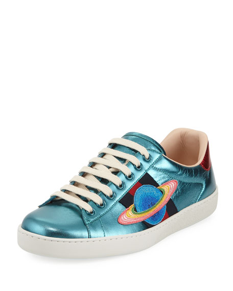 Gucci New Ace Metallic Leather Planet Sneaker and