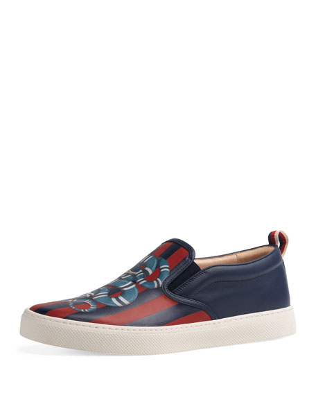 Gucci Men's Dublin King Snake Leather Slip-On Sneakers