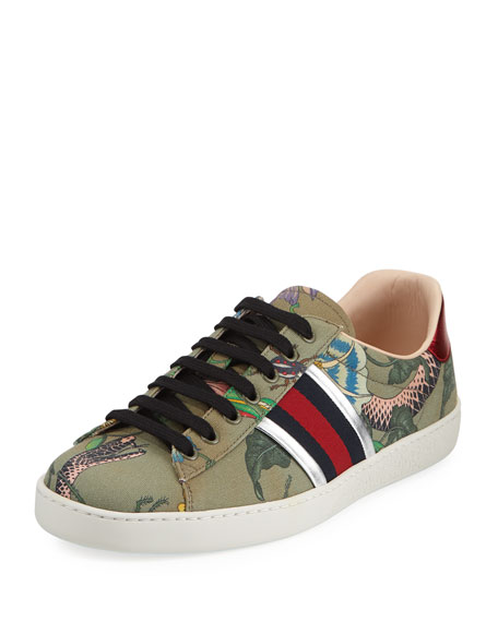 Gucci New Ace Canvas Print Low-Top Sneaker