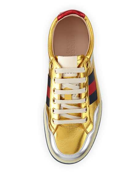 More Low-Top Metallic Leather Sneaker