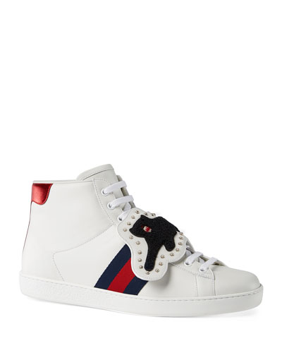 gucci shoes for men. new ace high-top sneaker with removable embroideries gucci shoes for men k