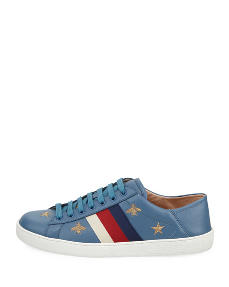 Men's New Ace Bees & Stars Embroidered Leather Sneakers