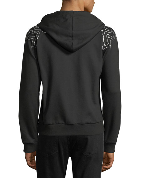Laurel-Embroidered Zip-Front Hoodie