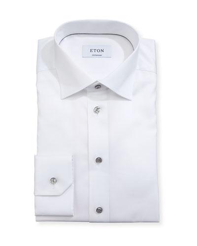 Cotton Twill Dress Shirt w/ Gray Buttons