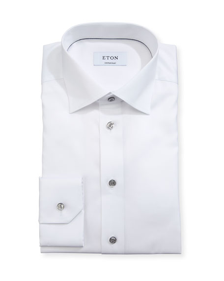 Eton Cotton Twill Dress Shirt w/ Gray Buttons
