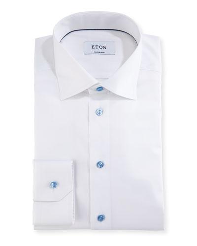 Cotton Twill Dress Shirt w/ Blue Buttons