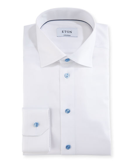 Eton Cotton Twill Dress Shirt w/ Blue Buttons