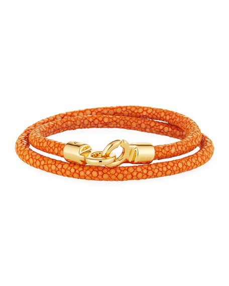 Brace Humanity Men's Stingray Wrap Bracelet, Orange/Golden