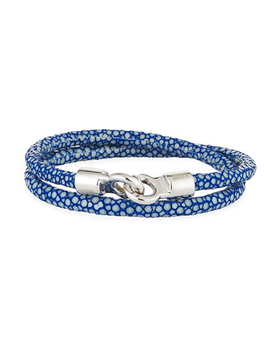Men's Stingray Wrap Bracelet, Blue/Silvertone