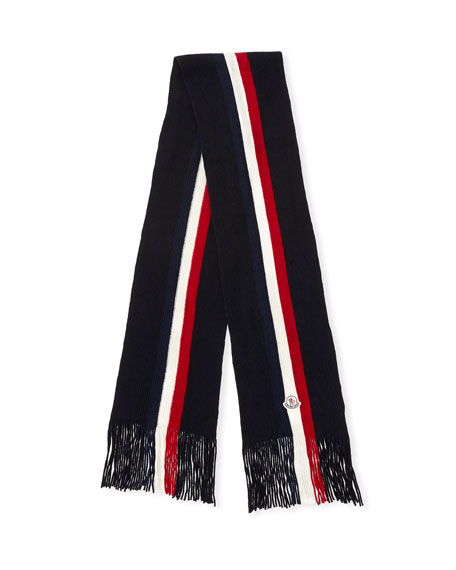 Fringed-End Striped Wool Scarf