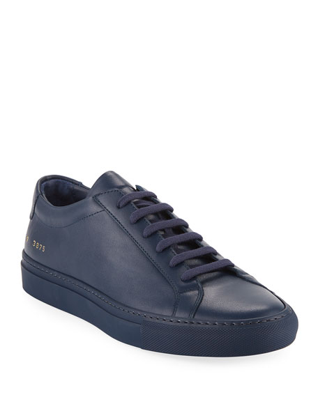 Men's Achilles Leather Low-Top Sneakers, Navy