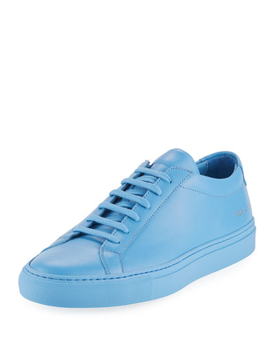 Men's Achilles Leather Low-Top Sneakers, Blue