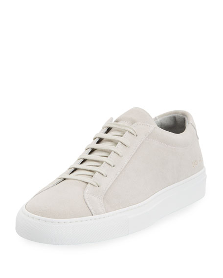 Common Projects Achilles Suede Low-Top Sneaker, Gray and