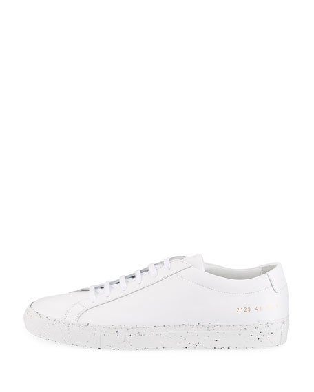 Men's Achilles Leather Low-Top Sneakers with Confetti Sole, White/Black