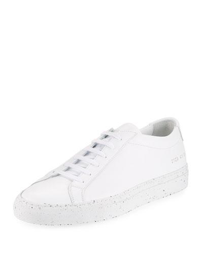 Men's Achilles Leather Low-Top Sneaker with Confetti Sole, White/Black