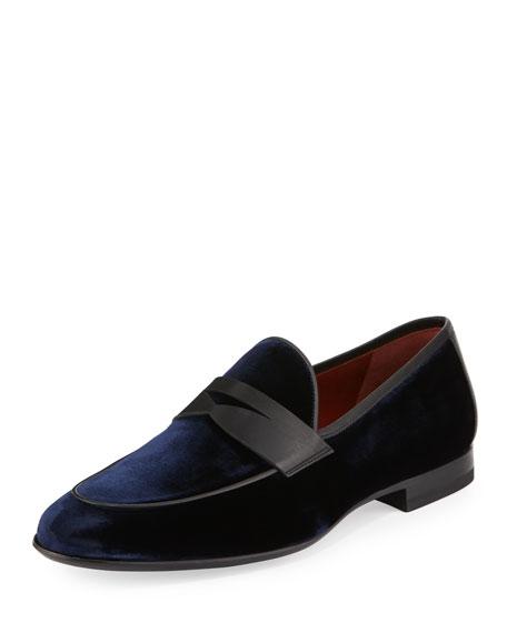 Magnanni for Neiman Marcus Velvet Formal Penny Loafer,