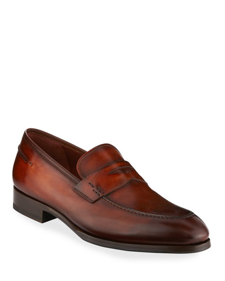 Magnanni for Neiman Marcus Smooth Leather Penny Loafer,