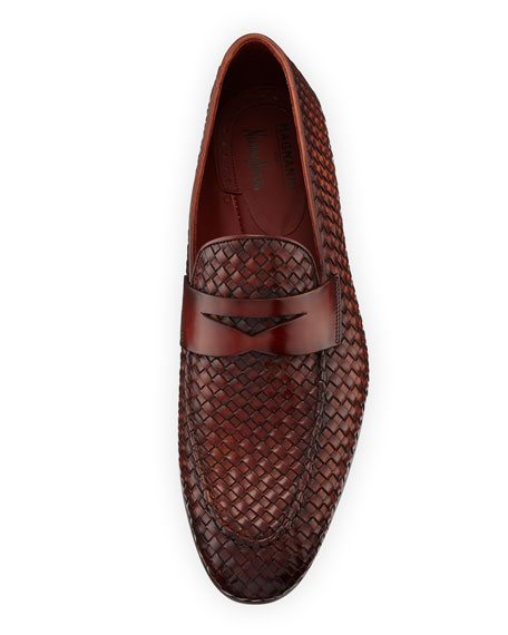 Woven Leather Penny Loafer, Brown