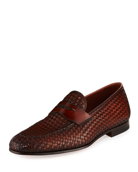 Magnanni for Neiman Marcus Woven Leather Penny Loafer,