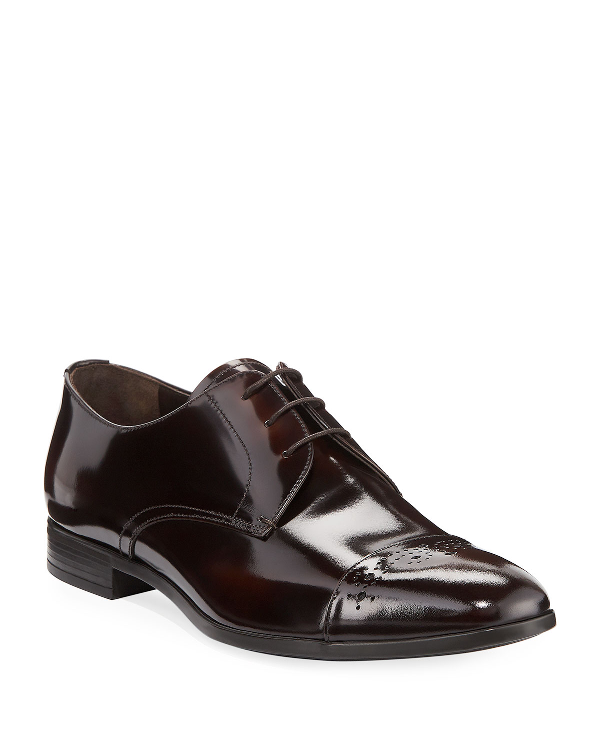 bb61c1c6201 Prada Spazzolato Fume Lace-Up Oxford