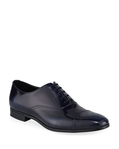 Spazzolato Leather Lace-Up Oxford