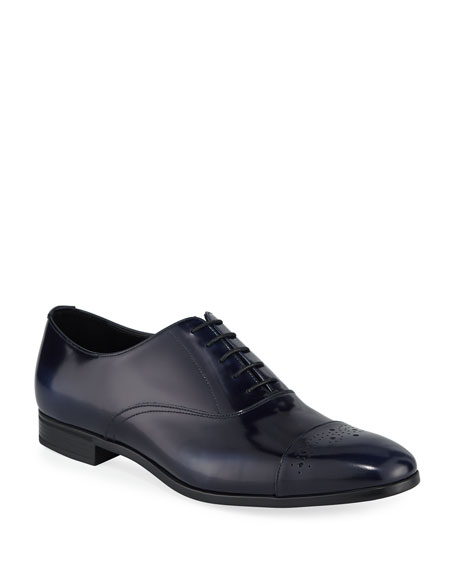 Prada Spazzolato Leather Lace-Up Oxford