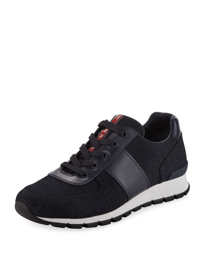 Denim Vitello Lace-Up Sneaker
