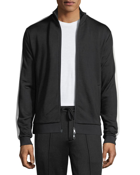 Vince Side-Striped Zip-Front Jacket