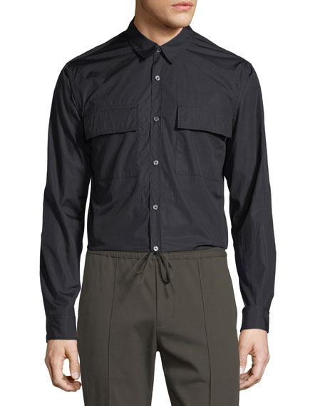 Vince Military Long-Sleeve Sport Shirt