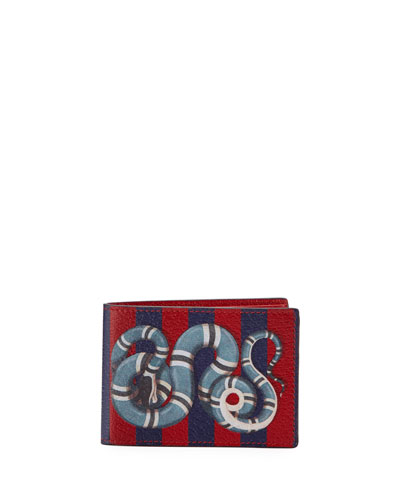 Snake-Print Striped Leather Wallet