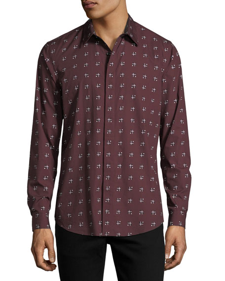 Theory Cross-Box Printed Long-Sleeve Sport Shirt