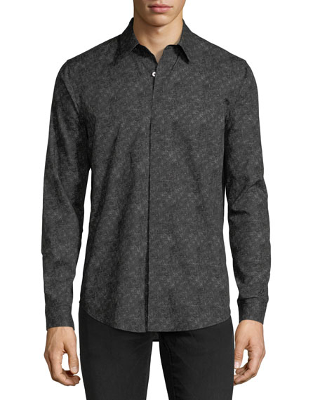 Tonal-Print Long-Sleeve Sport Shirt