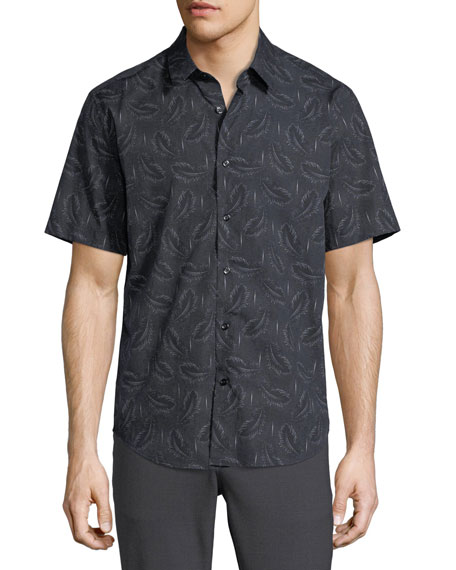 Feather-Print Short-Sleeve Sport Shirt