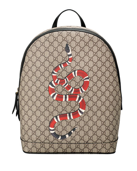Gucci Snake-Print GG Supreme Backpack