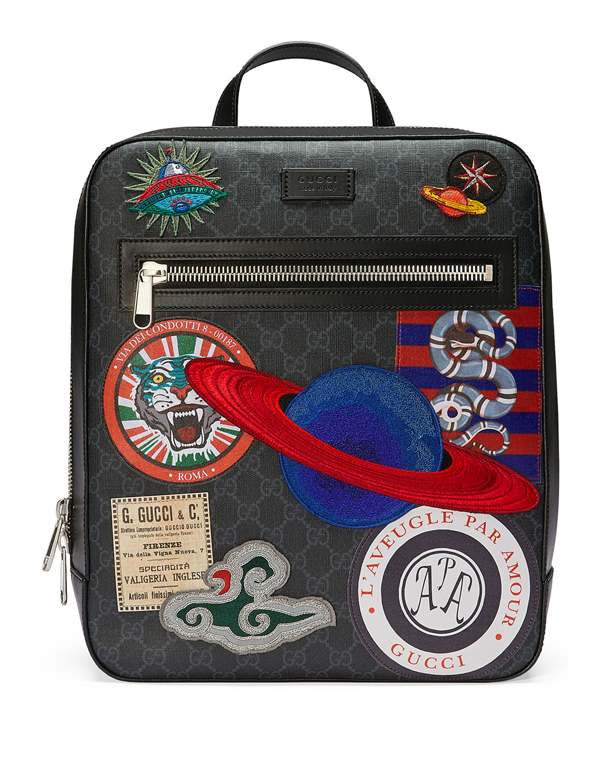 3754db4de84d Gucci GG Supreme Backpack with Travel Patches | Neiman Marcus