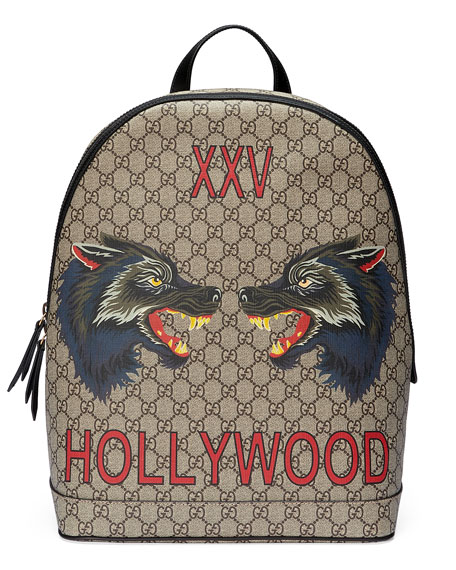 Wolf Print Gg Supreme Hollywood Backpack, Beige