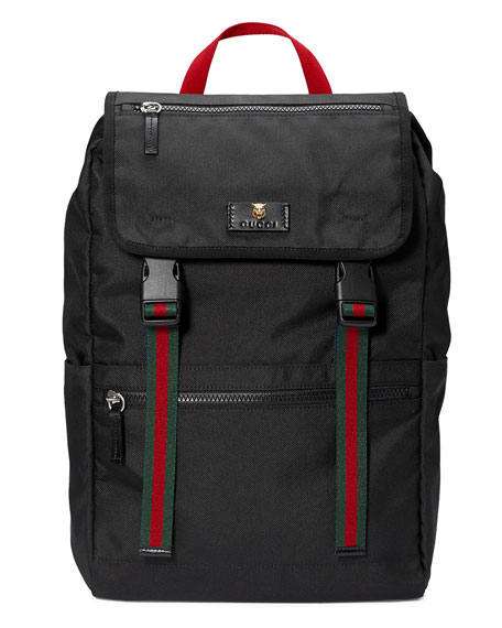 Gucci Men's Technical Canvas Web Backpack