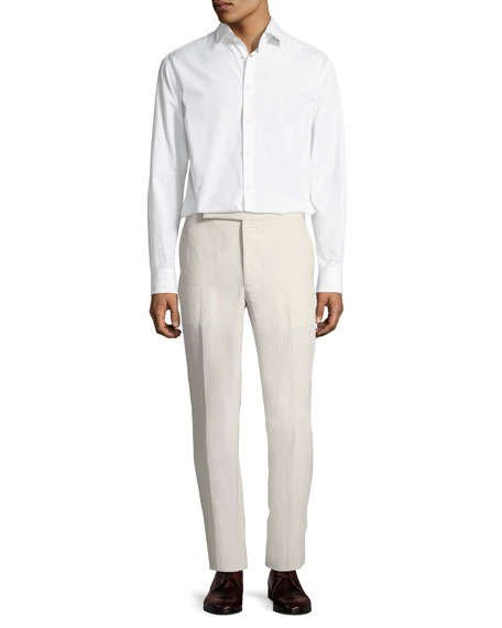 Linen-Silk Slub Trousers