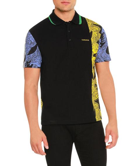 Versace Barrocco Istante Printed Polo Shirt