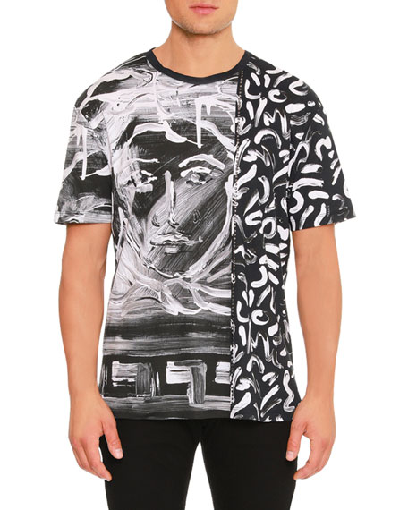 Versace Painted Medusa Studded-Trim T-Shirt