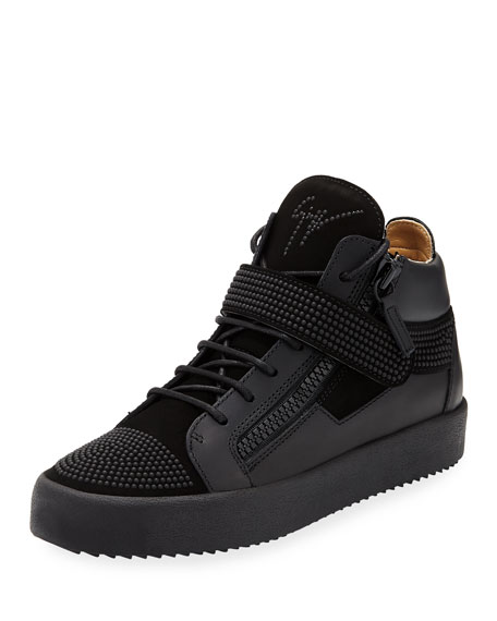 Men's Double-Zip Studded Mid-Top Sneakers, Black
